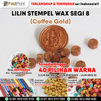 Seal Wax Stempel Lilin Segel Segi Delapan Stamp Sealing - Coffee Gold