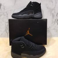 Sepatu Nike Air Jordan 12 Triple Black 2 - Premium Import