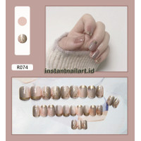 R-074 Golden Fake Nails Kuku Palsu Instant Nail Art Kuku Palsu Cantik