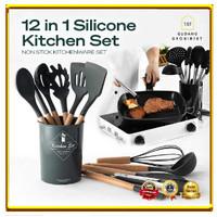 Alat Masak Sehat Silicone Kitchen Set Spatula Cooking BPA-Free