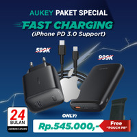 Paket Aukey Fast Charging iPhone PD3.0 PB-Y22 + Charger PA-F1 + CB-CL1