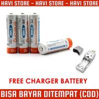 FREE CHARGER - Baterai Cas AA 2100mAh - 4PCS - Tamiya Remote TV Jam DL