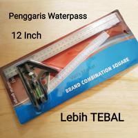 Siku Penggaris Waterpass / Combination Square Ruler / Siku Tukang