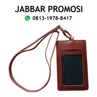 name tag id card holder tali kulit - Merah