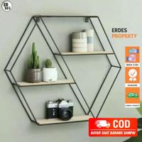 [COD] Rak Dinding Besi Dekorasi Dinding Minimalis Vintage Hexagon