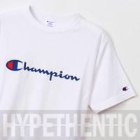 Champion Men Heritage Script Logo Tee White Original / Baju Kaos Pria - Navy, S