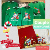 Baju Kaos Couple Family Natal/Merry Christmas/Santa Claus 2Anak (02