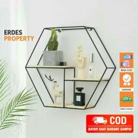 Rak Dinding Besi Dekorasi Bentuk Hexagon Minimalis Modern Vintage