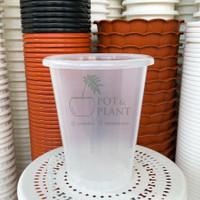 Pot Plastik NKT Tower 18cm Bening Transparan Tinggi Tanaman Bunga