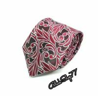 Dasi Pria Dasi Panjang Dasi Motif Batik Merah 3 Inchi