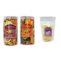 PAKET Cabrini Snacks Crunchy Veggie Tutti Frutti 1000mL dan Pouch - Veggie & Frutti, Tiram