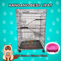 Kandang Kucing Tingkat 3 Besi Lipat Ukuran 62 cm x 42 cm x 92 cm