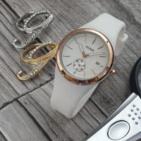 Jam Tangan Wanita Fashion Guess Rubber Tanggal Aktif - Putih