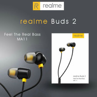 Earphone Handsfree REALME MA11 Headset Extra Bass Murah (Hitam)