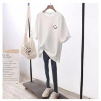 KAOS IMPORTT Shirt BTS Oversized Smile Bordir Putih Tangan Pendek