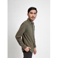 Hommes Apparel Kemeja Pique Lengan Panjang Hijau HM 120 Premium