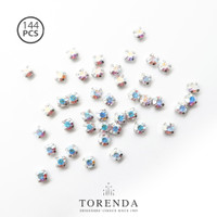 144 PCS Torenda Rhodium Preciosa Montees Cangkang 12SS (Varian Warna)