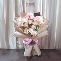 Pink Mix Artificial Flower Bouquet | Buket Bunga Palsu Ulang Tahun - Merah Muda
