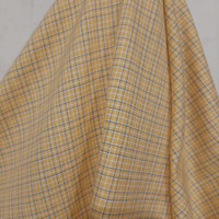 Kain Kotak Semi Wool ( Kuning Garis Biru )