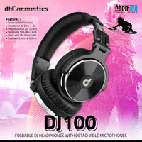 dbE DJ100 Foldable DJ Headphones with Detachable Cable