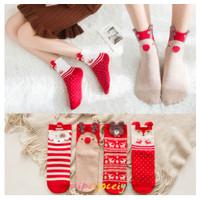 Kaos Kaki Wanita Motif Kartun Rusa Natal Bahan Katun Warna Merah