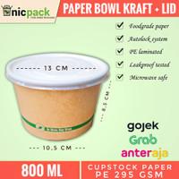 PAPER BOWL KRAFT COKLAT/Mangkok kertas/Mangkuk Sup 800ml + tutup