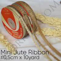 Mini Jute Ribbon ±0.5cm x 10Yard - pita goni - rustic