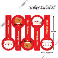 Sticker label tempelan kue natal santa merah panjang (Sticker H) 5pc