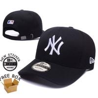 Topi Baseball Cap MLB NY New York Yankees Hitam Putih Bordir IMPORT