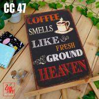 POSTER KAYU BINGKAI PIGURA HIASAN DINDING PAJANGAN VINTAGE COFFEE