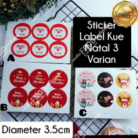 Sticker label tempelan natal kombinasi 3model BULAT dia. 3.5cm (6pc)