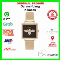 Jam Tangan Original Olivia Burton Square Dial 3d Bee Gold Mesh 23mm