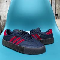 Sepatu Sneakers Adidas Sambarose Women Navy Leather Wanita Original