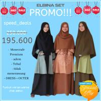 GAMIS ELBINA SET DRESS+OUTER (tanpa hijab) size S M L XL matt MOSCREPE - Soft Grey, L