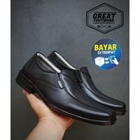 Sepatu Pantofel Pria Casual Formal Slip On Hitam Kulit Asli Murah P523 - 43