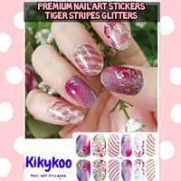premium nail art sticker tiger stripes glitters sticker kuku glitters