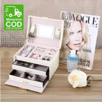 Kotak perhiasan 3 layer/box penyimpan jam tangan kalung cincin anting