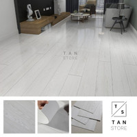 Parket Lantai Kayu Lantai Vinyl Sticker Stiker Import Premium - YBM4 (Putih)