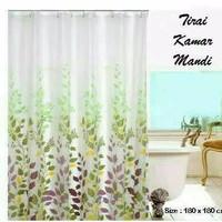 Set Tirai Kamar Mandi / Shower Curtain , Ring dan Tiang 72 - 120 Cm