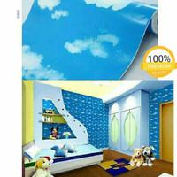 Wallpaper Sticker Dinding Awan Biru Langit Ukuran 45 CM x 10 M - Awan Biru