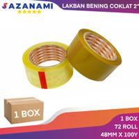 1 Box Lakban Opp bening 2 Inch x100y sazanami Tape isolasi (gojek)