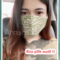 Masker kain batik 3 lapis ( 1 set isi 12 ) bahan katun sanforis