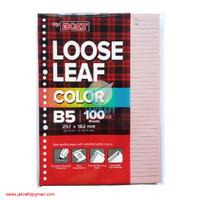 Kertas Binder Note Loose Leaf B5 isi 100 Warna Pink Pastel 26 Lubang