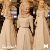 Baju Gamis Wanita Terbaru Zamirah long dress Maxi muslim plus Kerudung