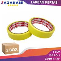 PROMO 1 BOX MASKING TAPE 1 INCH x 15m Sazanami ISOLASI LAKBAN KERTAS