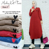 New Mickey Knit Long Tunik Jumbo Rajut Import Halus Adem Big Size