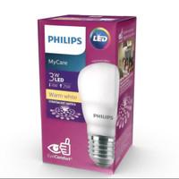 Lampu led bulb philips 3 watt lampu bohlam led kuning 3w mycare 3000 k