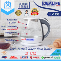IDEALIFE Teko Listrik Pemanas Air Low Watt Mini 1 Liter Kaca IL-113S