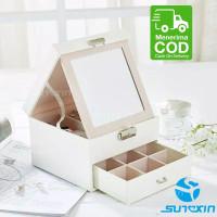 Kotak perhiasan 2 layer/box penyimpan jam tangan kalung cincin