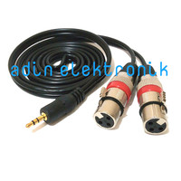 Kabel Aux Audio 3.5mm Gold Plate To 2 XLR pin 3 Female 1.5 Meter - 1.5 Meter